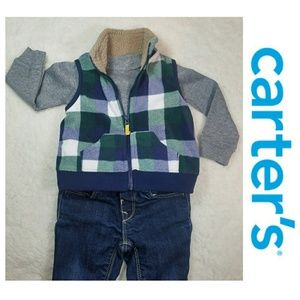 Carters Buffalo Check fleece vest